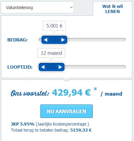 vakantielening simulatie voor 5.000 euro