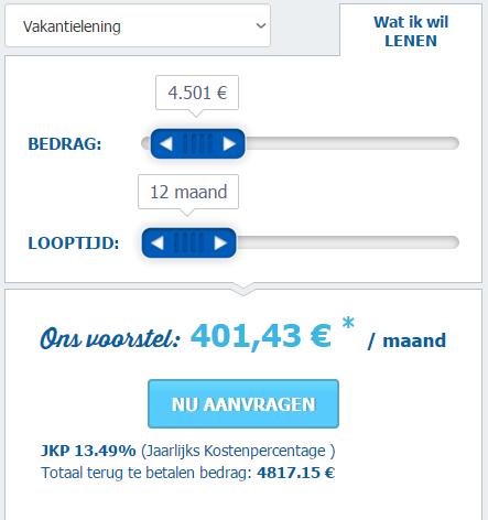 vakantielening simulatie voor 4.500 euro